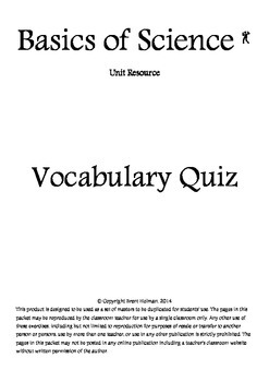 Basics of Science Vocabulary Quizzes