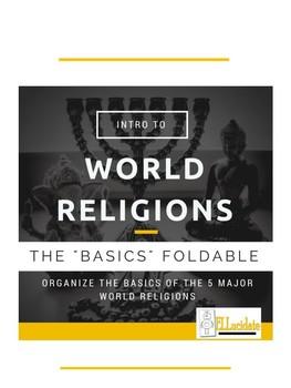 Basics of World Religions Foldable Social Studies, ESL, ELL, Geography