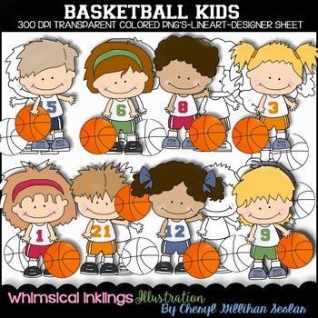 Basket Ball Kids Clipart Collection