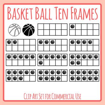 Basket Ball Ten Frames Maths Template Clip Art Set for Commercial Use