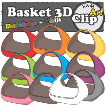 Basket in Rainbow Colors Clip Art