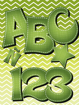 Basket Weave Alphabet Two Colors • Vector PDF • 300 DPI PNG • Spanish Letters