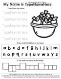 Basket of Apples - Name Tracing & Coloring Editable Sheet
