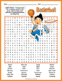 Basketball Word Search Worksheet