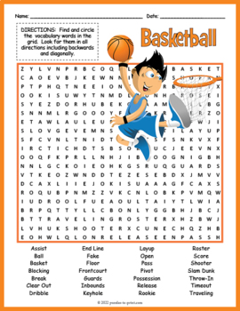photograph about Sports Word Search Printable named Basketball Term Look