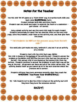 March Madness Basketball Add 'Em Up! Math Activity