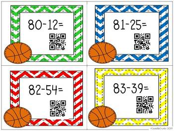 Basketball Addition Subtraction with QR Codes Game