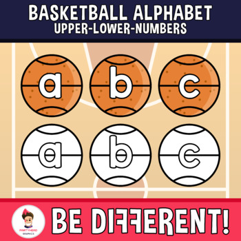 Basketball Alphabet Clipart Letters ENG.-SPAN. (Upper-Lower-Numb.)