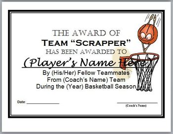 basketball awards certificates 9 different awards by surviving