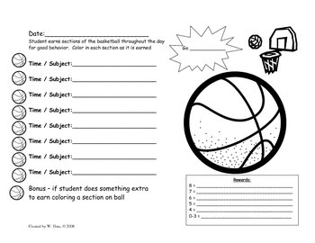 Basketball Behavior Chart - Student Incentive Chart