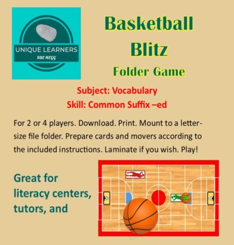 Basketball Blitz Folder Game for Common Suffix -ed