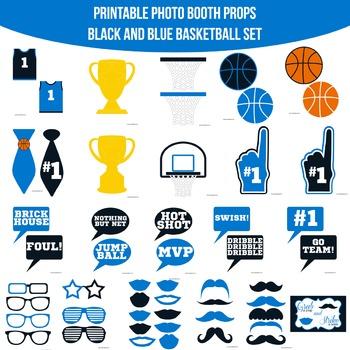 Basketball Blue Black Printable Photo Booth Prop Set