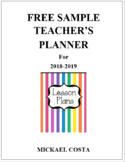 Sample Teacher's Planner 2018-2019