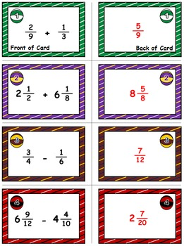 "Basketball Math Skills & Learning Center (Add & Subtract ""Unlike"" Fractions)"