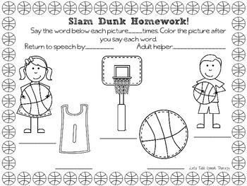 Basketball Bonanza-Articulation Packet for Speech Therapy(k,g,f,v,l &l-blends)