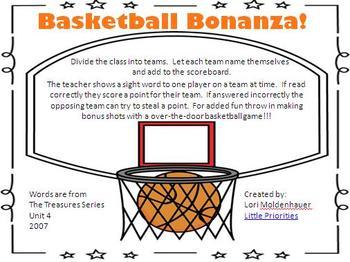 Basketball Bonanza Sight Word Freebie