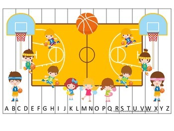 Basketball Boys themed Alphabet Sequence Puzzle preschool activity.  Daycare.