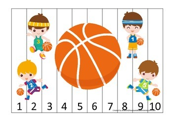 Basketball Boys themed Number Sequence Puzzle 1-10 preschool activity.