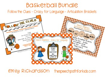 Basketball Bundle: Follow the Clues - Crazy for Language - Articulation Brackets