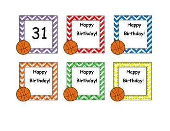 Basketball Calendar Numbers