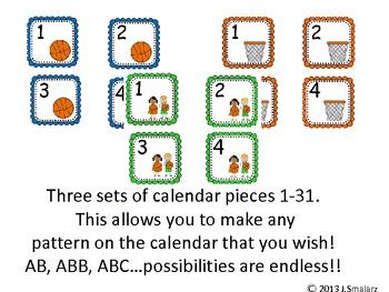 Basketball Calendar Pieces