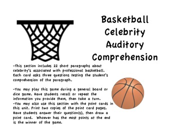 Basketball Celebrity Auditory Comprehension Memory