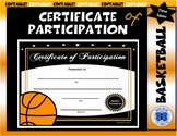 Basketball Certificate of Participation - Editable