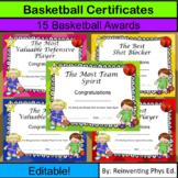 Basketball Certificates! 15 Editable Basketball Awards