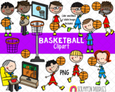 Basketball Clipart - Boys Playing and Watching Basketball Clipart
