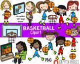 Basketball Clipart - Girls Playing and Watching Basketball