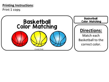 Basketball Color Matching File Folder Game