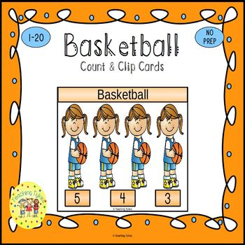 Basketball Count and Clip Sports Task Cards