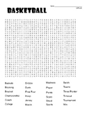 Basketball DIFFICULT Word Search and Coloring Page   (SUB PLAN use?)