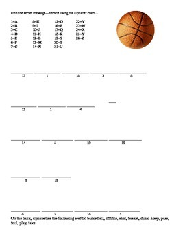 Basketball Decoding Message