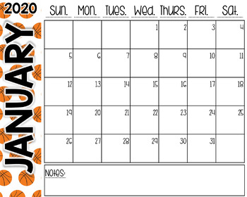 Basketball Desk Calendar