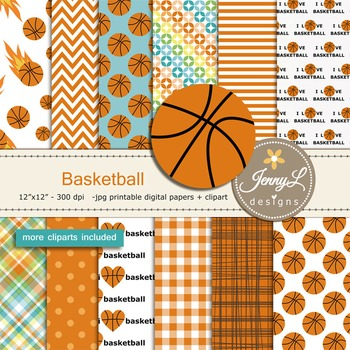 Basketball Digital papers and clipart