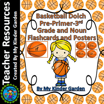 Basketball Dolch PrePrimer-3rd High Frequency Sight Word Flashcards & Posters