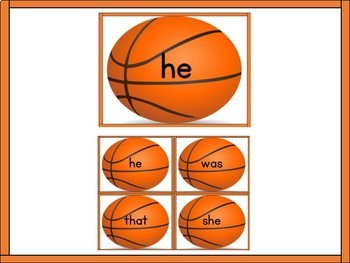 Basketball Dolch Primer High Frequency Sight Word Flashcards and Posters