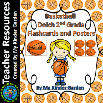 Basketball Dolch 2nd Grade High Frequency Sight Word Flashcards and Posters