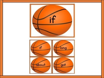 Basketball Dolch 3rd Grade High Frequency Sight Word Flashcards and Posters