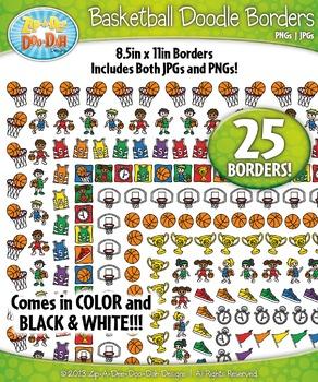 Basketball Doodle Frame Borders {Zip-A-Dee-Doo-Dah Designs}