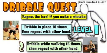 Basketball Dribble Quest Skill PE Progression - 6 Levels!