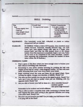 Basketball Dribble Task Sheet