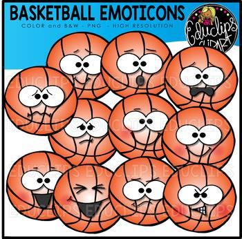 Basketball Emoticons Clipart Set {Educlips Clipart}