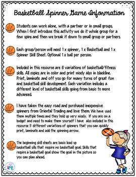 Basketball & Fitness Skills Spinner Game-PE, Brain Breaks, Youth Teams