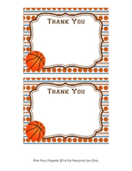 Basketball Flat Thank You Notes