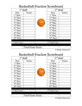 Adding Fractions Basketball Game