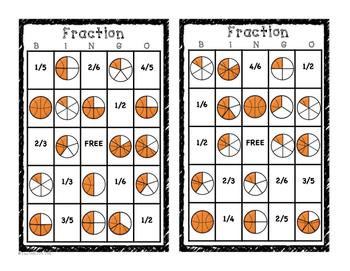 Fractions Basketball Theme - Fractional Parts - 1.GA.3, 2.GA.3, 3.GA.2