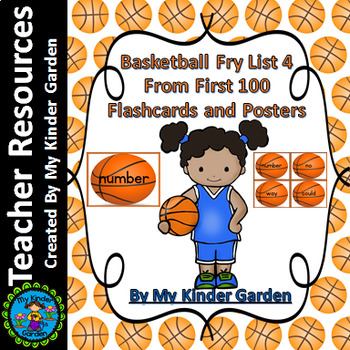 Basketball Fry List 4 in 1st 100 High Frequency Sight Word Flashcards & Posters