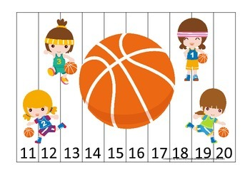 Basketball Girls themed Number Sequence Puzzle 11-20 preschool activity.
